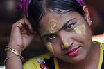 A Rohingya woman in the Jamtoli Refugee Camp near Cox's Bazar, Bangladesh. Her face is marked with thanakha, a traditional Burmese cosmetic.<br /> <br /> More than 600,000 Rohingya have fled government-sanctioned violence in Myanmar for safety in Bangladesh.
