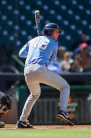 North Carolina Tar Heels third baseman Colin Moran #18 at bat against the California Golden Bears in the NCAA baseball game on March 2nd, 2013 at Minute Maid Park in Houston, Texas. North Carolina defeated Cal 11-5. (Andrew Woolley/Four Seam Images).