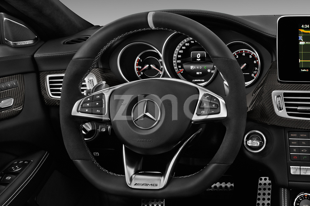 Car pictures of steering wheel view of a 2018 Mercedes Benz CLS-Class AMG-CLS63-4MATIC 4 Door Sedan Steering Wheel