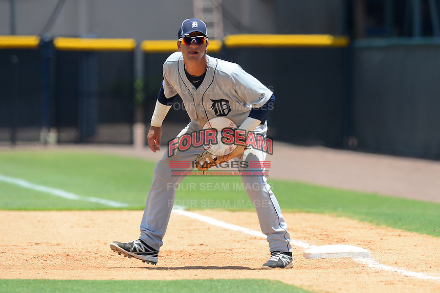 GCL Tigers first baseman Jesus Ustariz (30) during a game against the GCL Yankees 1 on July 22, 2013 at the Yankee Complex in Tampa, Florida.  GCL Yankees defeated the GCL Tigers 6-4.  (Mike Janes/Four Seam Images)