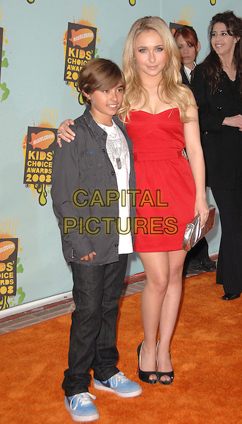 JANSEN PANETTIERE & HAYDEN PANETTIERE .Attends The 2008 Kids Choice Awards held at Pauley Pavilion in Westwood, California, USA, March 29th 2008.                                                                     full length red strapless dress black peep-toe shoes silver clutch bag brother? family .CAP/DVS.©Debbie VanStory/Capital Pictures