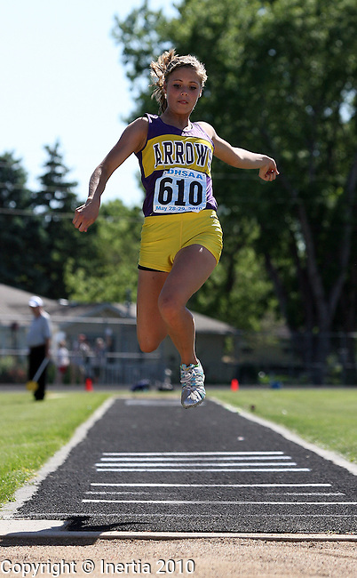 BRANDON, SD - MAY 28: Cassandra Kranz of Watertown leaps during the girls triple jump Friday at the 2010 State Track Meet in Brandon. (Photo by Dave Eggen/Inertia)