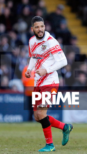 Stevenage's Jobi McAnuff scores the second goal during the Sky Bet League 2 match between Stevenage and Grimsby Town at the Lamex Stadium, Stevenage, England on 28 January 2017. Photo by Carlton Myrie / PRiME Media Images.