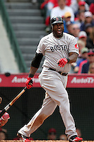 David Ortiz #34 of the Boston Red Sox bats against the Los Angeles Angels at Angel Stadium in Anaheim, California on April 24, 2011. Photo by Larry Goren/Four Seam Images