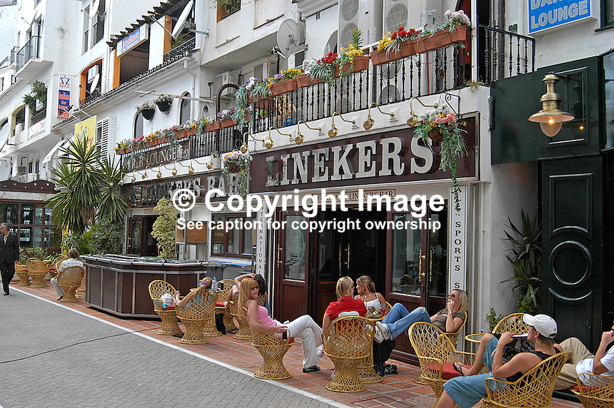 Linekers Bar, Puerto Banus, Marbella, Andalusia, Spain. Believed not to be owned by Gary Lineker but by his brother, Wayne Lineker. 200405044596..Copyright Image from Victor Patterson, 54 Dorchester Park, Belfast, UK, BT9 6RJ..Tel: +44 28 9066 1296.Mob: +44 7802 353836.Voicemail +44 20 8816 7153.Skype: victorpattersonbelfast.Email: victorpatterson@mac.com.Email: victorpatterson@ireland.com (back-up)..IMPORTANT: If you wish to use this image or any other of my images please go to www.victorpatterson.com and click on the Terms & Conditions. Then contact me by email or phone with the reference number(s) of the image(s) concerned.