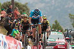 Marc Soler (ESP) Movistar Team, Esteban Chaves (COL) and Mikel Nieve (ESP) Mitchelton-Scott cross the finish line at the end of Stage 7 of La Vuelta 2019 running 183.2km from Onda to Mas de la Costa, Spain. 30th August 2019.<br /> Picture: Colin Flockton | Cyclefile<br /> <br /> All photos usage must carry mandatory copyright credit (© Cyclefile | Colin Flockton)
