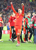 19th November 2019; Cardiff City Stadium, Cardiff, Glamorgan, Wales; European Championships 2020 Qualifiers, Wales versus Hungary; 2-goal scorer Aaron Ramsey of Wales celebrates the 2-0 win - Editorial Use