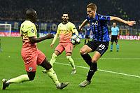 6th November 2019, Milan, Italy; UEFA Champions League football, Atalanta versus Manchester City; Benjamin Mendy of Manchester City challenges Mario Pasalic of Atalanta BC