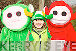 TV FAVOURITES: Caoimhe Moore met with the telly tubbies during the St. Patricks Day parade in Castlegregory on Saturday..