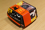 """The """"Ikasumi burger"""" at McDonald's restaurant on October 4, 2014 in Tokyo Japan. McDonal's Japan launches a black burger called """"Ikasumi (Squid Ink) burger"""" and white burger """"Camembert Chicken Fireo"""" for Halloween season. The Ikasumi burger contains black sesame and squid ink on its buns, and fried onions, cheddar cheese, squid ink and chipotle sauce. The concept of the burger is """"what would happen if witch played a trick on the burger."""" The burgers are currently available at three branches in Tokyo's Shinjuku area: Shinjuku Minamiguchi, Seibu Shinjuku Station and Shinjuku Oguard Nishi and are priced at 370 JPY (3.35USD) and 670JPY (6.06USD) for the combo. McDonald's Japan announced on their official website that they will expand the sales to other stores from October 8. (Photo by Rodrigo Reyes Marin/AFLO)"""