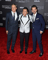 Actors Alan Tudyk, Diego Luna &amp; Donnie Yen at the world premiere of &quot;Rogue One: A Star Wars Story&quot; at The Pantages Theatre, Hollywood. <br /> December 10, 2016<br /> Picture: Paul Smith/Featureflash/SilverHub 0208 004 5359/ 07711 972644 Editors@silverhubmedia.com