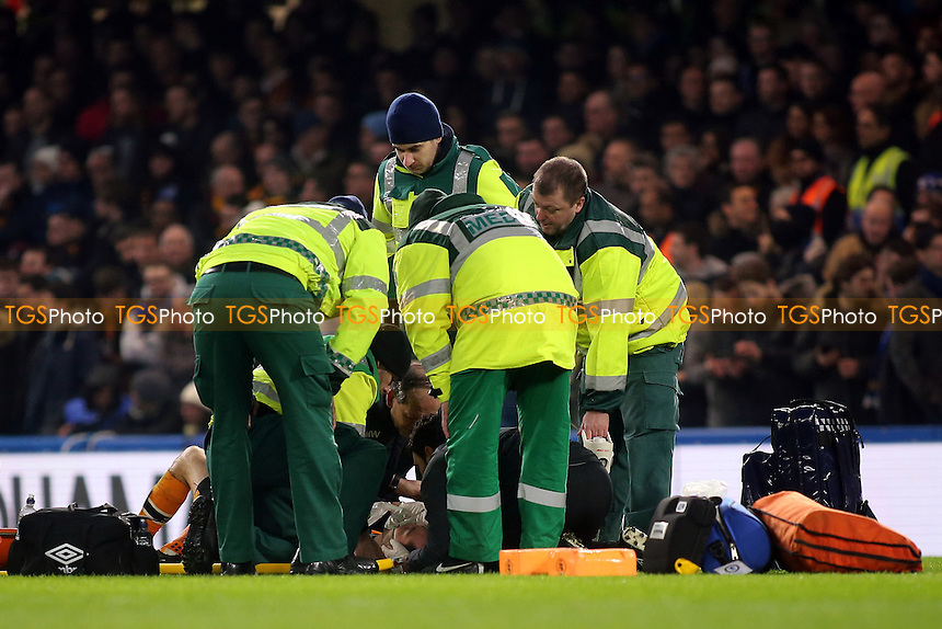 The Medics attend to Hull City's Ryan Mason after he suffered a head injury during Chelsea vs Hull City, Premier League Football at Stamford Bridge on 22nd January 2017