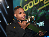 20170208 – LINT ,  BELGIUM : Jose Izquierdo winner of the Golden Shoe 2017 pictured during the  63nd men edition of the Golden Shoe award ceremony and 1st Women's edition, Wednesday 8 February 2017, in Lint AED studio. The Golden Shoe (Gouden Schoen / Soulier d'Or) is an award for the best soccer player of the Belgian Jupiler Pro League championship during the year 2016. The female edition is a first in Belgium.  PHOTO DIRK VUYLSTEKE | Sportpix.be