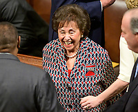 United States Representative Nita Lowey (Democrat of New York) enjoys a light moment with some colleagues as the 116th Congress convenes for its opening session in the US House Chamber of the US Capitol in Washington, DC on Thursday, January 3, 2019.  Representative Lowey is the incoming chair of the US House Appropriations Committee. Photo Credit: Ron Sachs/CNP/AdMedia