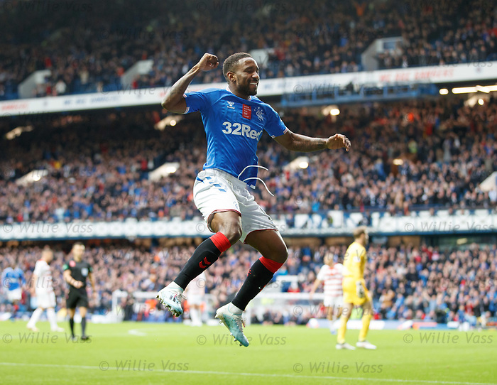 06.10.2019 Rangers v Hamilton: Jermain Defoe celebrates after scoring the opening goal