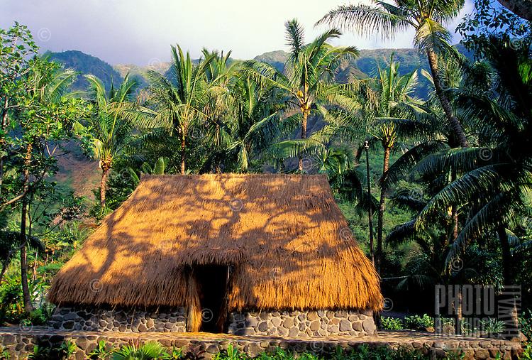 A thatched hut at Kepaniwai Heritage Gardens, near Iao Needle State Park, Wailuku, Maui