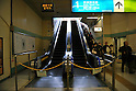 March 17th, 2011. Escalators are closed in Yurakucho Station in Tokyo in an effort to save electricity. People's lives have been disrupted in the greater Tokyo area as Tokyo Electric Power Co. began its first-ever rolling blackout to help prevent an unexpected large-scale power outage after a powerful earthquake shut two nuclear plants indefinitely on Friday 11th March...