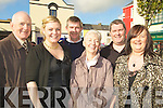 SUNSHINE: The sun shined in Tralee on saturday as the unveiling of the statue of the late Christy Hennessy in the Square Tralee at the unveiling were: BNrendan Heaslip, Brenda Faulkner, Murty Quirke, Leonie Heaslip, Des Hurley and Catherine Quirke (Tralee.