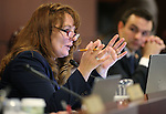 Nevada Assembly Minority Leader Marilyn Kirkpartrick, D-North Las Vegas, works in committee at the Legislative Building in Carson City, Nev., on Tuesday, May 26, 2015. <br /> Photo by Cathleen Allison