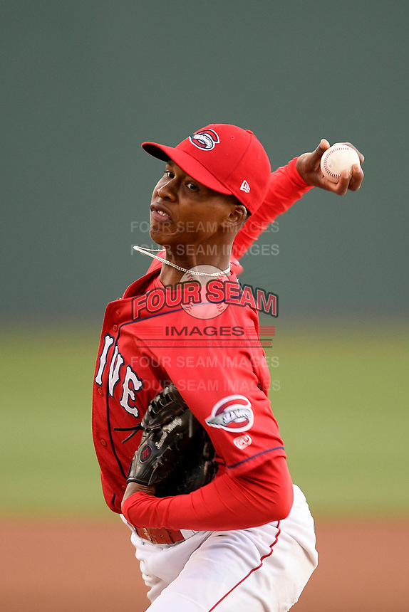 Starting pitcher Brayan Bello (44) of the Greenville Drive delivers a pitch in a game against the Rome Braves on Friday, April 19, 2019, at Fluor Field at the West End in Greenville, South Carolina. Greenville won, 2-0. (Tom Priddy/Four Seam Images)