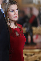 Princess Letizia of Spain attends the reception of the diplomatic corps in Spain at Palacio Real. January 23, 2013. (ALTERPHOTOS/Caro Marin) /NortePhoto