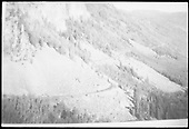 View of the long RGS grade at Windy Point coming up from Vance Junction with the Ames Slide in the middle distance as seen from around MP 44.2.  Same or better image at RD132-052.<br /> RGS  Windy Point, CO  Taken by Lunoe, Bob - 8/22/1941