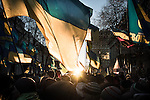 Kiev, Ukraine - 03 december 2013: Protesters are waiting in front of the ukrainian parliament (Verkhovna Rada) with the hope that the non-confidence measure will be adopted. Credit: Niels Ackermann / Rezo.ch