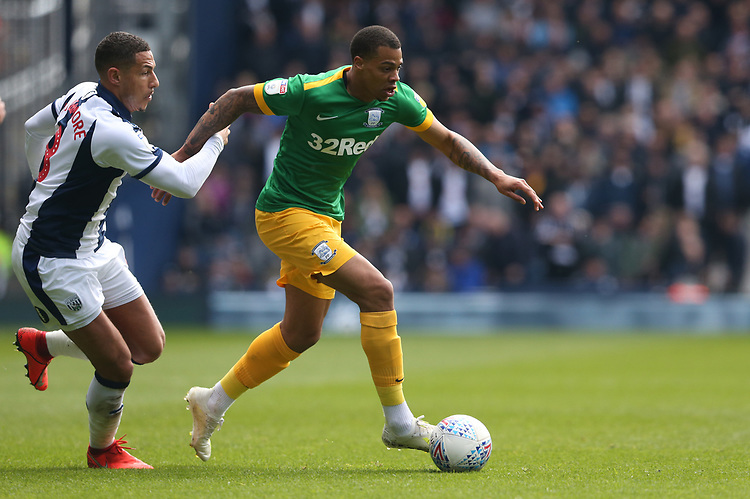 Preston North End's Lukas Nmecha shields the ball from West Bromwich Albion's Jake Livermore<br /> <br /> Photographer Stephen White/CameraSport<br /> <br /> The EFL Sky Bet Championship - West Bromwich Albion v Preston North End - Saturday 13th April 2019 - The Hawthorns - West Bromwich<br /> <br /> World Copyright © 2019 CameraSport. All rights reserved. 43 Linden Ave. Countesthorpe. Leicester. England. LE8 5PG - Tel: +44 (0) 116 277 4147 - admin@camerasport.com - www.camerasport.com