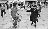"Ros Davies dancing with ""Nellie"" while other members of The York Street Band play, York, March 1979.  Sarha Moore and Ros Davies went on to play in The Bollywood Band, and Ros also joined the Grand Union Band, in London.  Anthea Gomez went on to write and play music for the theatre and then BBC Drama before changing direction."