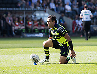 Leinster's Isa Nacewa lines up a kick at goal<br /> <br /> Photographer Simon King/CameraSport<br /> <br /> Guinness PRO12 Round 19 - Ospreys v Leinster Rugby - Saturday 8th April 2017 - Liberty Stadium - Swansea<br /> <br /> World Copyright &copy; 2017 CameraSport. All rights reserved. 43 Linden Ave. Countesthorpe. Leicester. England. LE8 5PG - Tel: +44 (0) 116 277 4147 - admin@camerasport.com - www.camerasport.com