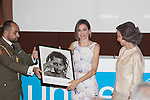 Queen Letizia of Spain presents the UNICEF Spain Award to Queen Sofia of Spain during the ceremony in Madrid, Spain. June 23, 2015. (ALTERPHOTOS/Victor Blanco)