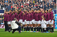 The England team sings the national anthem. QBE International match between England and Australia on November 2, 2013 at Twickenham Stadium in London, England. Photo by: Patrick Khachfe / Onside Images
