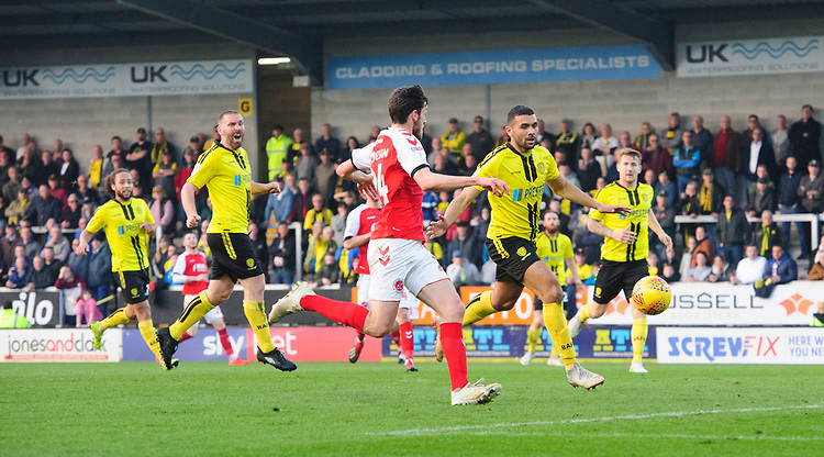 Fleetwood Town's Ashley Nadesan scores the opening goal <br /> <br /> Photographer Chris Vaughan/CameraSport<br /> <br /> The EFL Sky Bet League One - Saturday 23rd February 2019 - Burton Albion v Fleetwood Town - Pirelli Stadium - Burton upon Trent<br /> <br /> World Copyright © 2019 CameraSport. All rights reserved. 43 Linden Ave. Countesthorpe. Leicester. England. LE8 5PG - Tel: +44 (0) 116 277 4147 - admin@camerasport.com - www.camerasport.com