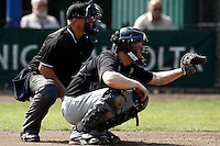03 September 2011: Catcher Sidney de Jong of L&D Amsterdam Pirates is seen during game 1 of the 2011 Holland Series won 5-4 in inning number 14 by L&D Amsterdam Pirates over Vaessen Pioniers, in Hoofddorp, Netherlands.