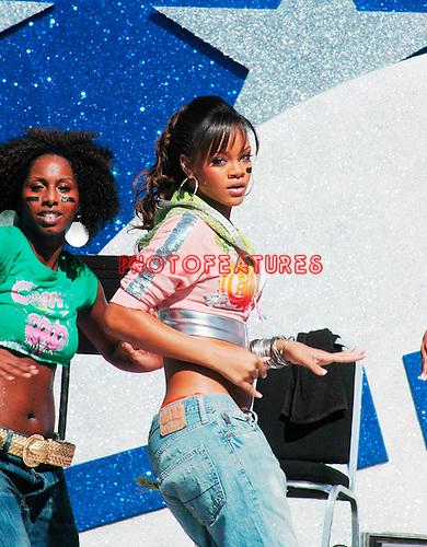 Rihanna performs at the NFL Opening Kickoff 2005 at the Los Angeles Coliseum