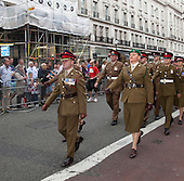 London, England, 2 July 2011, Pride London 2011 celebrations in Central London. Annual parade with members of the Armed Forces marching down Regent Street. Photo credit: Bettina Strenske