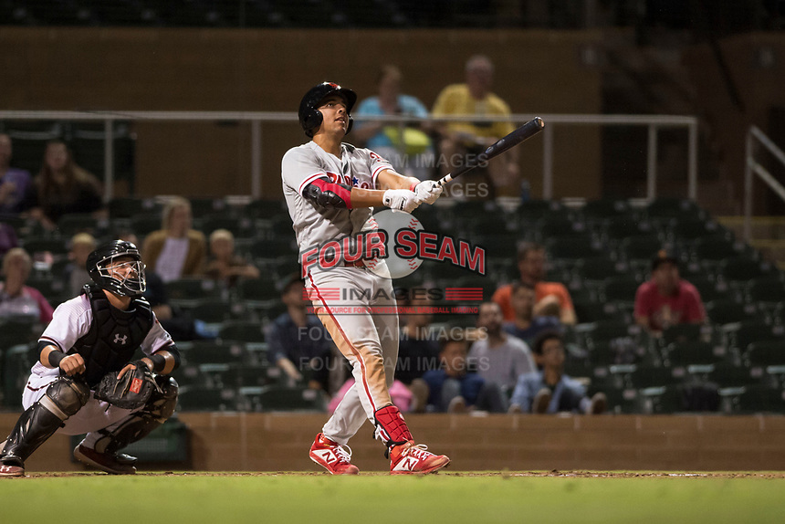 Scottsdale Scorpions first baseman Darick Hall (30), of the Philadelphia Phillies organization, hits a home run in front of catcher Daulton Varsho (8) during an Arizona Fall League game against the Salt River Rafters at Salt River Fields at Talking Stick on October 11, 2018 in Scottsdale, Arizona. Salt River defeated Scottsdale 7-6. (Zachary Lucy/Four Seam Images)