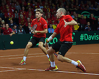 Gent, Belgium, November 28, 2015, Davis Cup Final, Belgium-Great Britain, day two, doubles match, David Goffin (L)/Steve Darcis (BEL) <br /> Photo: Tennisimages/Henk Koster