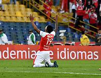 BOGOTA - COLOMBIA - 25 - 02 - 2018: Wilson Morelo,  jugador de Independiente Santa Fe, celebra el gol anotado a Jaguares F. C., durante partido de la fecha 5 entre Independiente Santa Fe y Jaguares F. C., por la Liga Aguila I 2018, en el estadio Nemesio Camacho El Campin de la ciudad de Bogota. / Wilson Morelo, player of Independiente Santa Fe, celebrates a scored goal to Jaguares F. C., during a match of the 5th date between Independiente Santa Fe and Jaguares F. C., for the Liga Aguila I 2018 at the Nemesio Camacho El Campin Stadium in Bogota city, Photo: VizzorImage / Luis Ramirez / Staff.