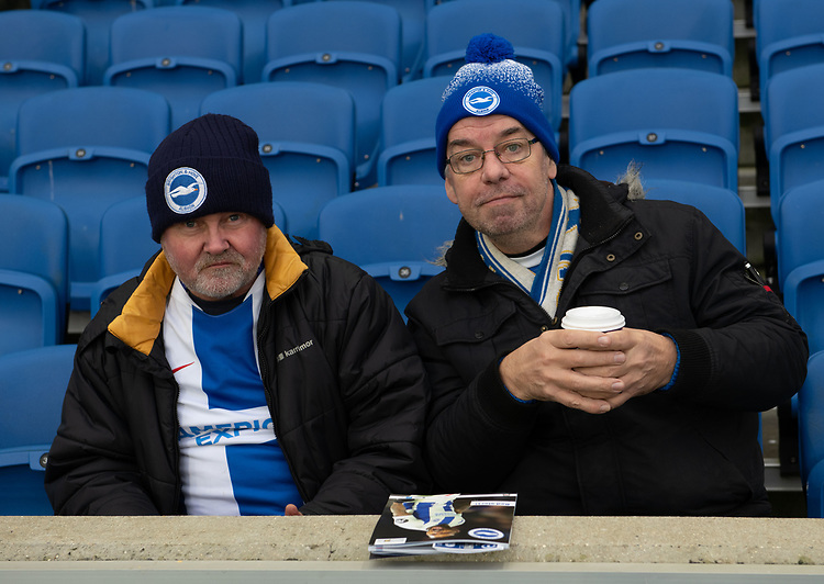 Brighton & Hove Albion fans <br /> <br /> Photographer David Horton/CameraSport<br /> <br /> The Premier League - Brighton and Hove Albion v Liverpool - Saturday 12th January 2019 - The Amex Stadium - Brighton<br /> <br /> World Copyright © 2018 CameraSport. All rights reserved. 43 Linden Ave. Countesthorpe. Leicester. England. LE8 5PG - Tel: +44 (0) 116 277 4147 - admin@camerasport.com - www.camerasport.com
