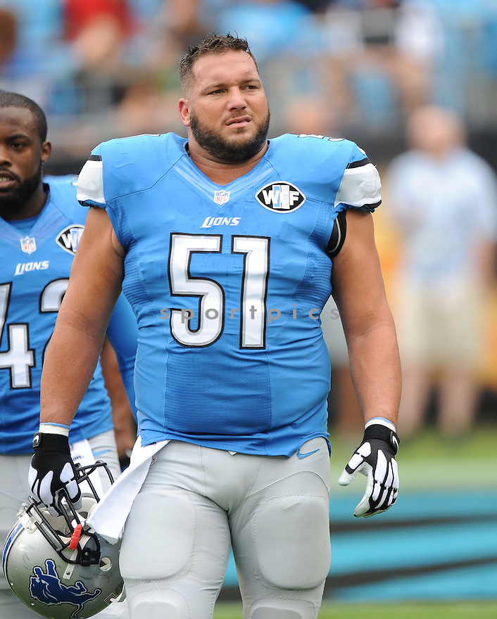 Detroit Lions Dominic Raiola (51) during a game against the Carolina Panthers on September 14, 2014 at Bank of America Stadium in Charlotte, NC. The Panthers beat the Lions 24 - 7.