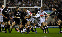 Twickenham, GREAT BRITAIN, Josh LEWSEY and Ollie MORGAN combine to drive on during the  England vs Scotland, Calcutta Cup Rugby match played at the  RFU Twickenham Stadium on Sat 03.02.2007  [Photo, Peter Spurrier/Intersport-images]...