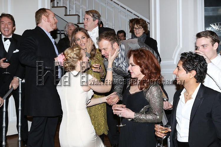 Martin Short, Darren Goldstein, Katie Finneran, Sarah Jessica Parker, Matthew Broderick, Norbert Leo Butz, Stockard Channing, Maulik Pancholy and Micah Stock  attend the re-opening night performance backstage reception for 'It's Only A Play' at the Bernard B. Jacobs Theatre on January 23, 2014 in New York City.