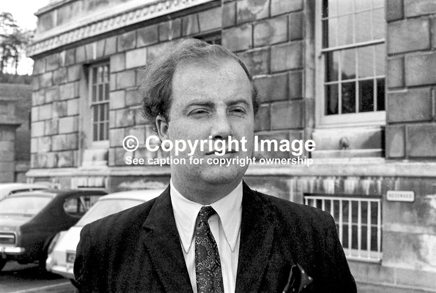 Ivan Cooper, SDLP, MP, arriving Parliament Buildings, Stormont, N Ireland, November, 1970, 197011008356<br /> <br /> Copyright Image from Victor Patterson, 54 Dorchester Park, <br /> Belfast, UK, BT9 6RJ<br /> <br /> t1: +44 28 9066 1296 (from Rep of Ireland 048 9066 1296)<br /> t2: +44 28 9002 2446 (from Rep of Ireland 048 9002 2446)<br /> m: +44 7802 353836<br /> <br /> e1: victorpatterson@me.com<br /> e2: victorpatterson@gmail.com<br /> <br /> www.victorpatterson.com<br /> <br /> Please see my Terms and Conditions of Use at VICTORPATTERSON.COM. It is IMPORTANT that you familiarise yourself with them.<br /> <br /> Images used on the Internet must be visibly watermarked i.e. &copy;VICTORPATTERSON.COM within the body of the image and copyright metadata must not be deleted. Images used on the Internet have a size restriction of 4kbs and are chargeable at the then current NUJ rates.<br /> <br /> This image is only available for the use of the download recipient i.e. television station, newspaper, magazine, book publisher, etc, and must not be passed on to any third party. It is also downloaded on condition that each and every usage is notified within 7 days to victorpatterson@me.com<br /> <br /> The right of Victor Patterson to be identified as the author is asserted in accordance with The Copyright Designs And Patents Act (1988).
