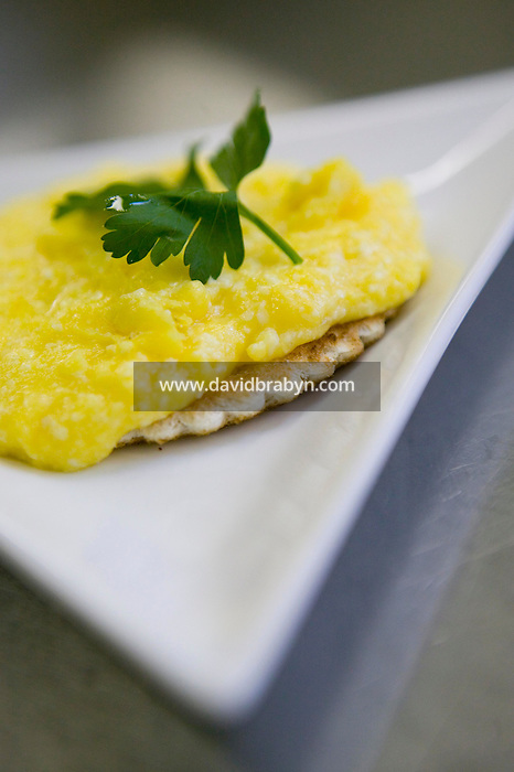 View of a Nabob, a cheesey scrambled egg savory, on a plate in the kitchen at Magdalene College in Cambridge, United Kingdom, 10 March 2007.