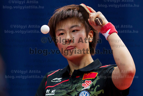 China's Ding Ning plays against Croatia's Cornelia Molnar (not pictured) during the ITTF World Tour Hungarian Open in Budapest, Hungary on January 19, 2012..Ding Ning beat Cornelia Molnar 4:0 during their match in the round of 64. ATTILA VOLGYI