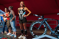 Chrissie Wellington on stage with other leading female triathletes at the launch event of the Challenge Roth Ironman Triathlon, Roth, Germany, 08 July 2011