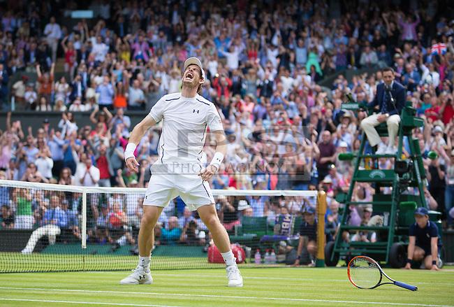 Andy Murrey (GBR) celebrates winning the mens final, Wimbledon Championships 2016, Day Fourteen, All England Lawn Tennis & Croquet Club, Church Rd, London, United Kingdom - 10th July 2016