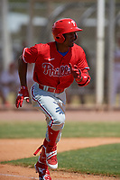Philadelphia Phillies Johan Rojas (33) bats during an exhibition game against the Canada Junior National Team on March 11, 2020 at Baseball City in St. Petersburg, Florida.  (Mike Janes/Four Seam Images)