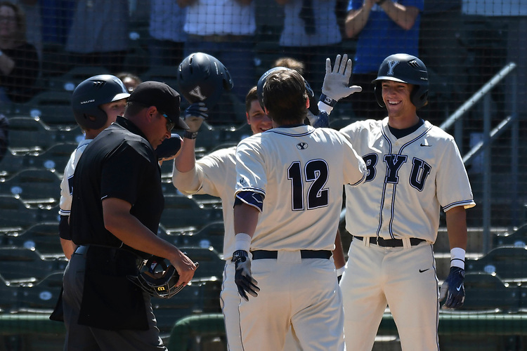 May 27, 2017; Stockton, CA, USA; BYU Cougars designated hitter Tanner Chauncey during the WCC Baseball Championship at Banner Island Ballpark.